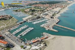 Barcarès marina seen from the sky in Languedoc-Roussillon