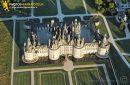 Chambord, France - 25 Juin 2011: Château de Chambord vu du ciel à 1500 ft