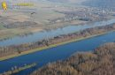 The Seine river and paramotor at Mantes-la-Jolie seen fron the sky