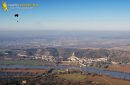 La Roche-Guyon en Vexin and paramotor seen from the sky in the Val-d'Oise