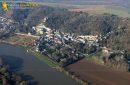 Castle of La Roche-Guyon en Vexin seen from the sky in the Val-d'Oise