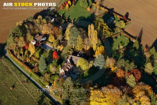 Photo aérienne de Saint Cyr sous Dourdan en Automne 2015, 91410, département de l'Essonne, région île-de-France