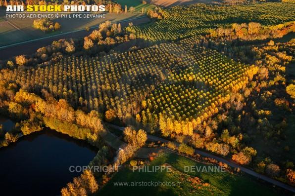 Photo aérienne d'automne des forêts de peupliers de la Belle Etoile à  Saint-Maurice-Montcouronne (91530), commune du pays de l'Hurepoix, département de l'Essonne, région Île-de-France. Nov. 2015