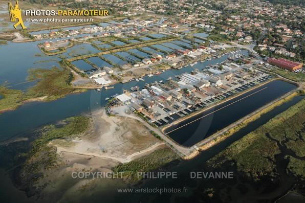 Photographie aérienne du port de Meyran à Gujan-Mestra (33470), commune du Bassin d'Arcahon, département de la Gironde, région Aquitaine, France - Juillet 2015