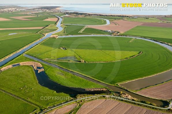Photographie aérienne du Marais Poitevin en Vendée (85) situé sur les commune de Angles, Grues et St-Michel-en-l'Herm en région Pays de la Loire Atlantique, France. Prise de vue d'avril 2017