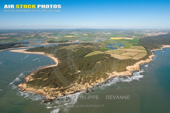 Photographie aérienne de la pointe du Payre , commune de Jard-sur-Mer (85520) , département de la Vendée; région Pays de la Loire, France. Prise de vue