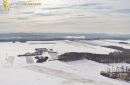 Dourdan vue du ciel sous la neige