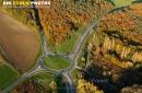 Rond point Bruyères-le-Châtel vue du ciel en Automne