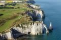 Vue aérienne falaise d'Aval d'Etretat  Seine maritime