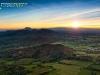Coucher de soleil en Auvergne vue du ciel
