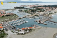 Barcarès marina and mountain seen from the sky in Occitanie