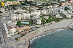 Port-Barcarès beach vacation rental seen from the sky
