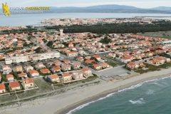 Beach house in Port Barcarès seen from the sky in Languedoc-Roussillon