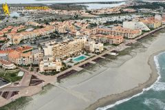 Port Barcarès beach seen from the sky in Languedoc-Roussillon region