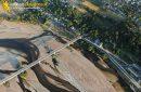 Photo aérienne du vieux pont de fer , Loire , Saumur