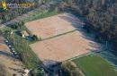 Aerial view football soccer field in Mantes la Jolie