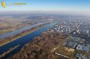 The Seine river at Mantes-la-Jolie seen fron the sky in Yvelines department