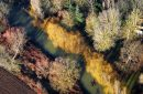 Colorful forest and an Seine river arm seen from the sky in Mantes-la-Jolie, in Yvelines