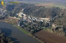 Castle of La Roche-Guyon en Vexin seen from the sky in the Val-d'Oise