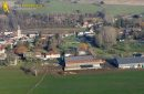 Aerial photography of Chaussy en vexin, in Val-d'Oise department, France