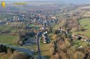 Aerial view of Chaussy village, in Val-d'Oise department, France