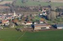 Panoramic aerial view of Chaussy en Vexin, in Ile-de-France region