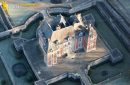 Haut Rosay castle close-up seen fron the sky in Ile-de-France région