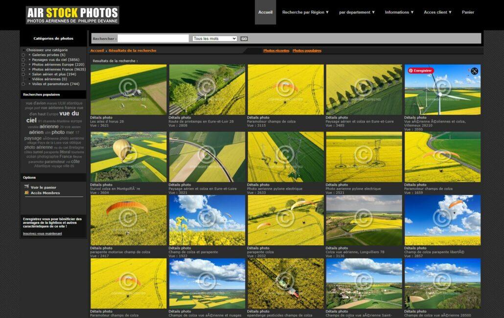 Capture ecran recherche champs de colza sur Airstockphotos.fr